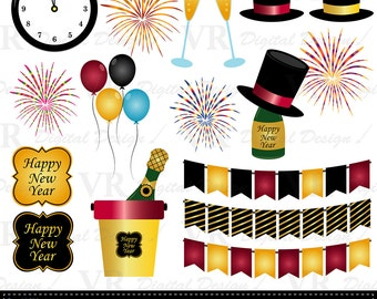 New Year Clip Art, Champagne Clip Art, New Year Instant Digital Download, New Year Vector,  New Year Scrapbook Clipart,  Firework Clip Art