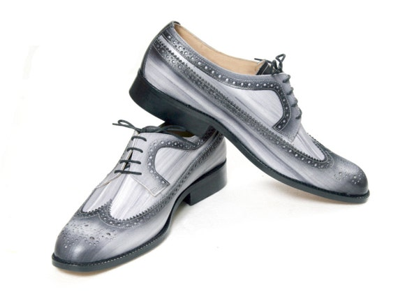 Leather man shoes, grey, Derby, hand painted (made in Italy)