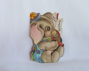 "Vintage Birthday Card - Elephant Playing a Pipe or Flute - Happy Birthday Nephew - Used - over 6"" tall"