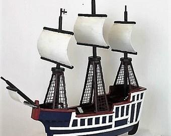 Vintage Handmade Boat/Wooden Galleon Boat/Model Wooden Ship/Folk Art/SALE (1941C)