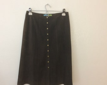 SUEDE Skirt CHOCOLATE BROWN / Button Down Skirt / Open Hips skirt