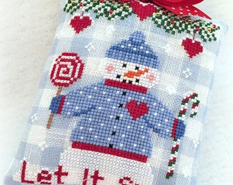 Let It Snow Christmas Ornament PDF Digital Cross Stitch Pattern