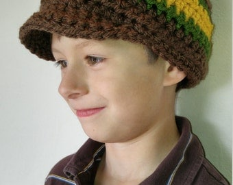 CLEARANCE Chunky crochet boy's striped beanie with brim, boy's newsboy hat, brown pageboy, accessories, falk, winter and spring fashion