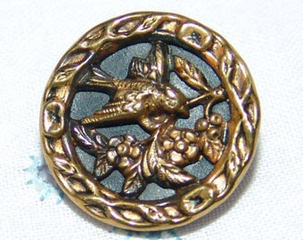 Charming Antique Open Work Brass Picture Button ~ Bird in a Tree with Flowers ~
