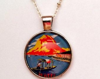 Vintage Asian Travel Poster Necklace, Bronze or Silver