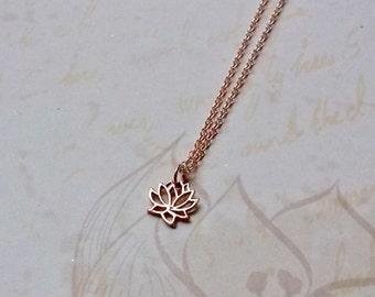 Rose Gold Lotus Flower Necklace Lotus Pendant Buddhist Jewellery
