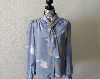 Late 70s or Early 80s Secretary Blouse, Vintage Blue Blouse, 80s Top