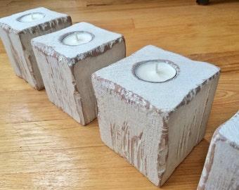 4 Distressed Wood Tea Light Candle Holders