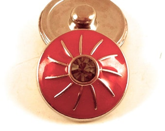 18mm Round Red Sun Snap Charm