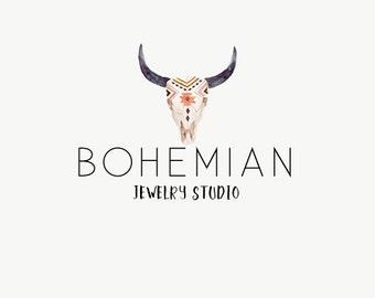 Boho premade logo - Bohemian logo - Logo for jewelry shops - Bohemian logo - Premade logos - Bull skull logo - watercolor logo