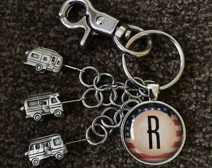 Featured listing image: RV Keychain with Swivel Clip & Customized American Flag Pendant, Airstream Keychain, Motorhome Keychain, Camper Keychain, 10002