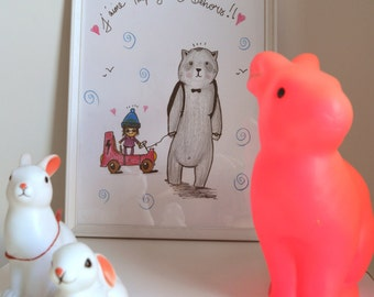 "Illustration child ""I like to play outside"" / Decoration room/reprography and original"