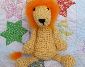 Crochet Lion/ Crochet Animal/ Amigurumi Lion/ Plush Lion Stuffed Animal/ Orange and Yellow Plush Lion/ Crochet Amigurumi