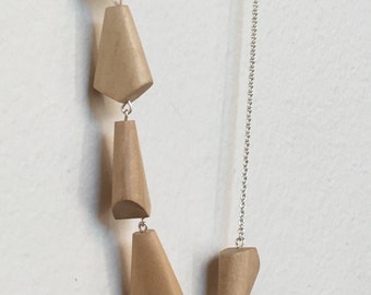 Wooden Necklace | Sterling Silver Necklace | Geometric Necklace | Chain Necklace | London Necklace