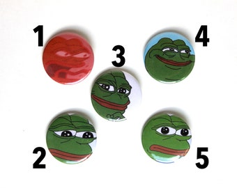 """Pepe the Frog 1.5"""" & 2.25"""" Button Assortment Pack"""