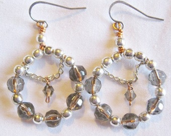 """Handmade """"Colorado Topaz"""" Swarovski Crystal Hoop Earrings"""