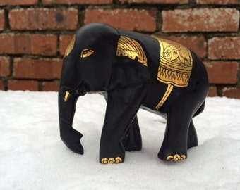Hand Painted Indian Carved Wood Elephant Sculpture With Black and Gold Paint
