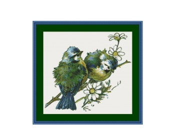 Two Blue Birds Cross Stitch Pattern, Instant Download Counted Cross Stitch Chart, Embroidery (P-439)