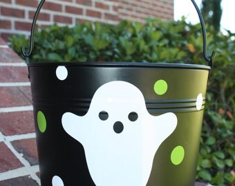 Personalized Metal Halloween Trick or Treat Bucket, Ghost Bucket