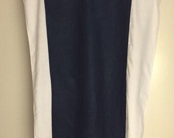 Navy Blue & White Linen/ Cotton blend Curtains