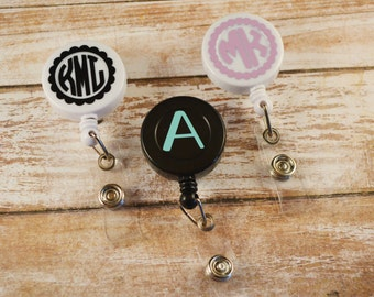 Monogrammed Badge Reel, Monogram ID Reel, Monogram Badge Reel, Personalized Badge Reel, Personalized ID Reel, Badge Holder, Nurse, RN, Badge