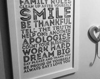 Family Rules Print, Family Word Art, Rules Word Art, Star Print