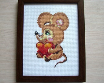 Cross stitch Mousy Picture, Wall décor, Décor nursery, Gift for children