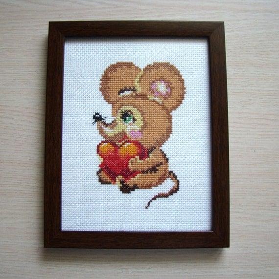 Wall Decor Cross Stitch : Cross stitch mousy picture wall d?cor nursery gift