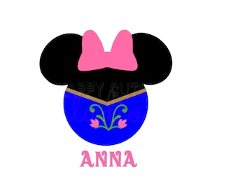 Frozen Anna Minnie Mouse Vinyl Disney Iron On Decal Vacation Princess Matching Family Mother Daughter Disney Iron On Vinyl Decal for Shirt
