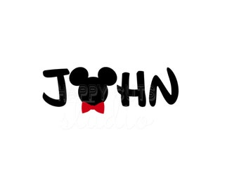 Personalized Name Minnie Mickey Decal / Mom Mouse Ears Polka Dots and Bow Bowtie Birthday Classic Disney Iron On Vinyl for Shirt Bag Top 134