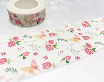 Rose butterfly Washi Masking tape 10M pink rose flower garden washi tape blossom flower garden planner sticker rose gift decor scrapbook