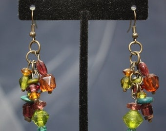 upcycled jewel toned bead cluster earrings