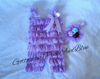 Lavender Lace Ruffle Romper with Straps and Satin Bow and bow flower lace headband set