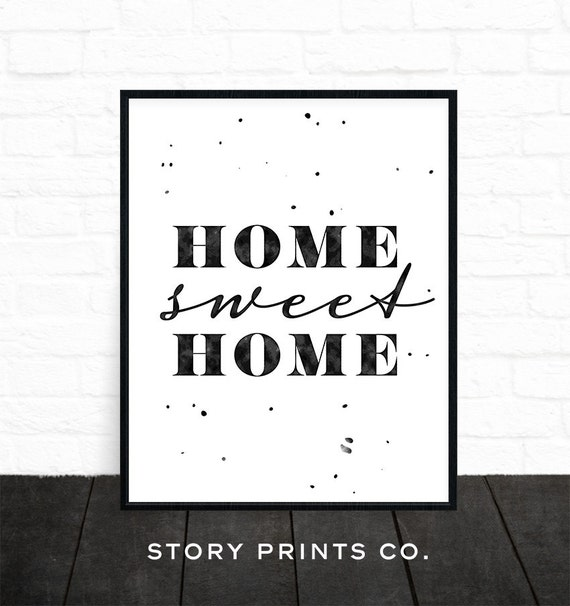 imprimer home sweet home home decor art mural noir et blanc. Black Bedroom Furniture Sets. Home Design Ideas