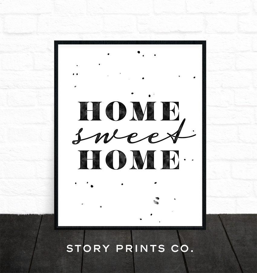 imprimer home sweet home home decor art mural noir et blanc. Black Bedroom Furniture Sets. Home Design Ideas