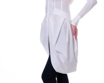 White Shirt, Womens Shirt, Cotton Shirt, Asymmetrical Top, Elegant Blouse, Extravagant Shirt, Cocktail Shirt, Party Top, Danellys D14.05.02