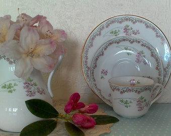 Pretty Bisto, Bishop & Stonier, Trio, Cups, Saucers and Plates, Pink, Green, Gold Rim, Trios, Retro, 1930s, Vintage China, Wedding Gift