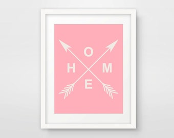 Pink Print, Pink Home Decor, Wall Art Print, Home Print, Arrow Decor, Printable Art Prints, Pink Art Print, Instant Download, Pink Artwork