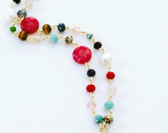 Short Multicolor Necklace Female Symbol