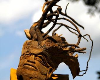Wood Carved Wind Spirit Sculpture