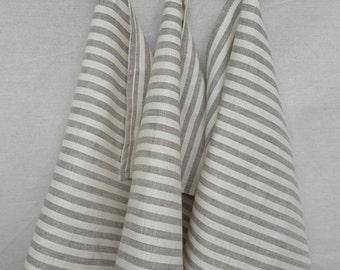 Linen towels Set of 3 Linen kitchen towels Striped linen towels Christmas Holiday Beige linen towels Striped linen towels face / hand towels