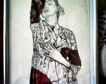 Woman pencil and collage E, framed in A4