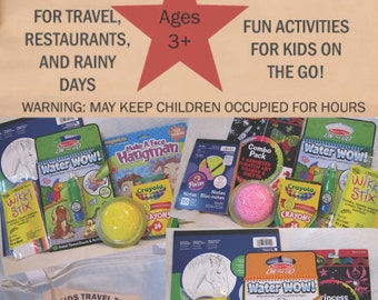 Kids Travel Tote  DELUXE - Travel activities, toys and games for children ages 3 and up - Makes a great gift!