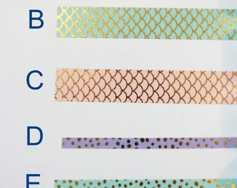 Washi Tape Sample, Mermaid Inspired Washi Tape, Planner Supplies, Bujo Supplies, Bullet Journal Supplies, Scrapbook Supplies, Craft Supplies