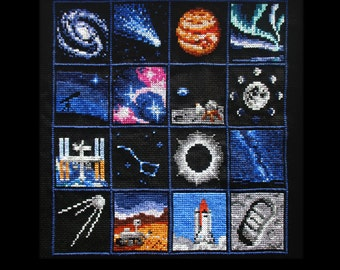 Space Sampler Cross Stitch Pattern PDF Instant Download