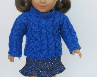 """18"""" American Girl Blue  Knitted Sweater and Skirt"""