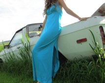 1970s Light Blue Maxi Swim Halter Top Dress Size 34 Bust/ Sexy Pinup/ Rockin Hollywood/ Spandex