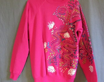 1980s Slouchy Pink Painted Sweatshirt | One Size | Large to Extra Large | Puffy Paint | Hot Pink | Bright Sweatshirt | Hand painted