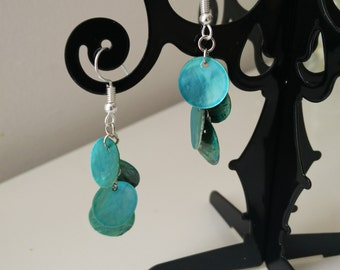 Earrings turquoise blue sequin