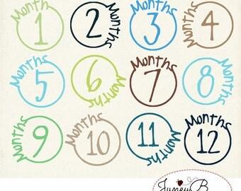 Numbered Month Stamps, Boy Colors Set, Instant Download, Digital Scrapbook Kit